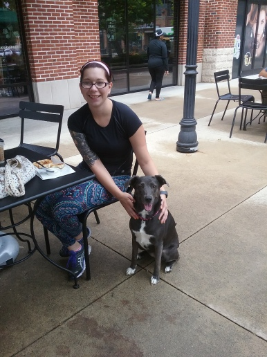 Brittany Johnson with Lacy at Starbucks